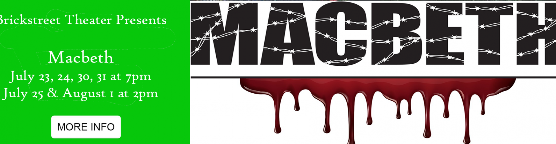 Brickstreet Theater Presents Macbeth Click for more information and tickets